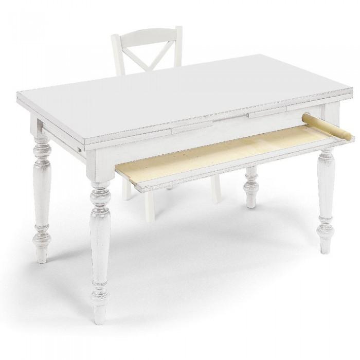 Tavolo Allungabile Laccato Bianco.Tavolo Calliope Allungabile Laccato Bianco Opaco Anticato Con