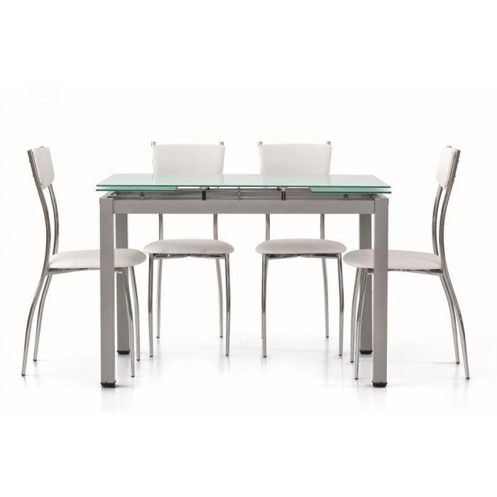 Tavoli Allungabili In Vetro Prezzi.Tavolo Allungabile In Vetro Verniciato Bianco Art 607 Allungabile