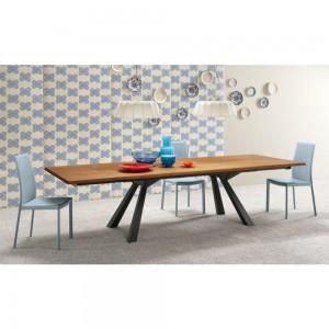 ZEUS TABLE WITH WALNUT TOP